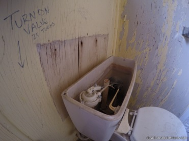 "To make the toilet work, ""Turn Valve 25 Times"". click to enlarge"