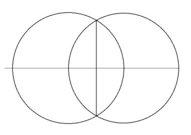 The Vesica Pices is the egg shape that is made by the intersection of these two circles.
