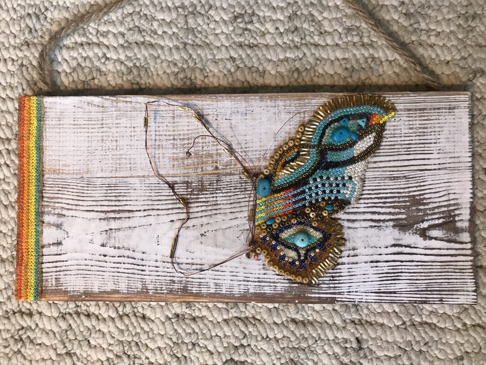Beads on wood inspired by Huichol Bead Ceremonial Art